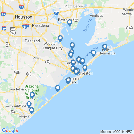 map of fishing charters in Galveston