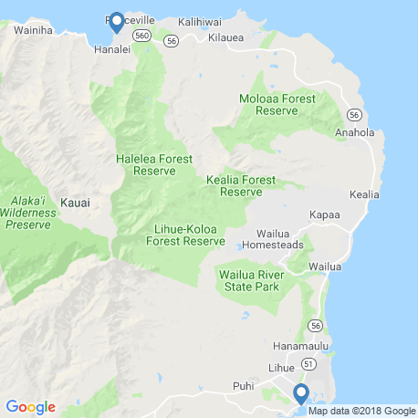 map of fishing charters in Lihue