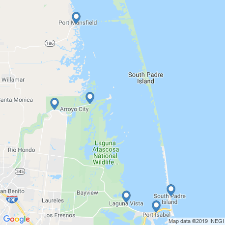 map of fishing charters in South Padre Island
