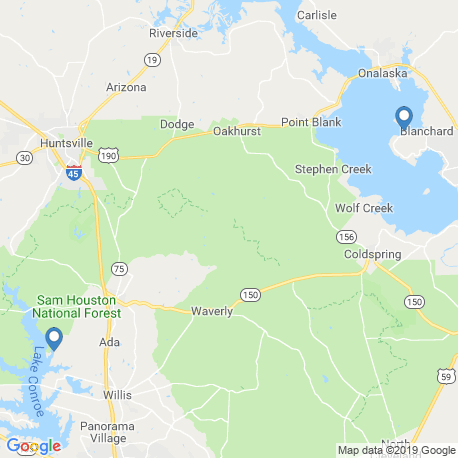 map of fishing charters in Lake Livingston