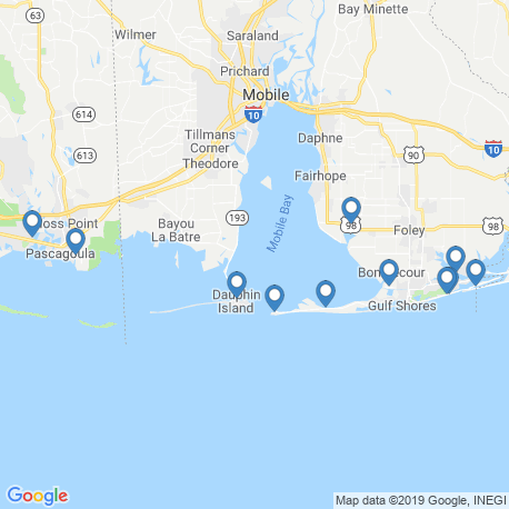 map of fishing charters in Dauphin Island