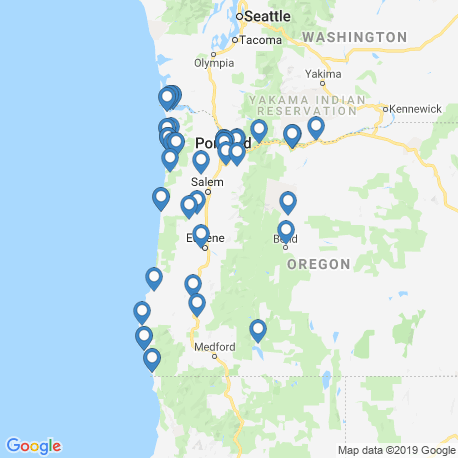 map of fishing charters in Oregon