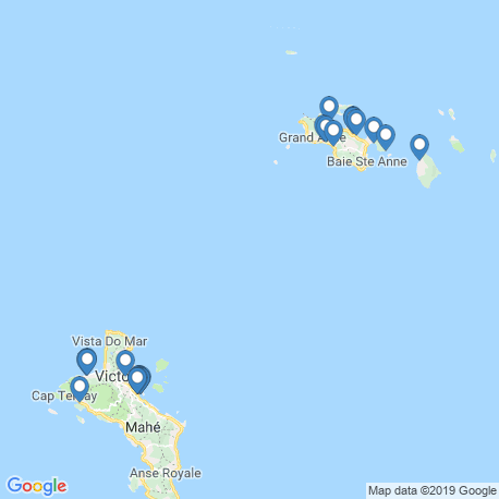 map of fishing charters in Seychellen