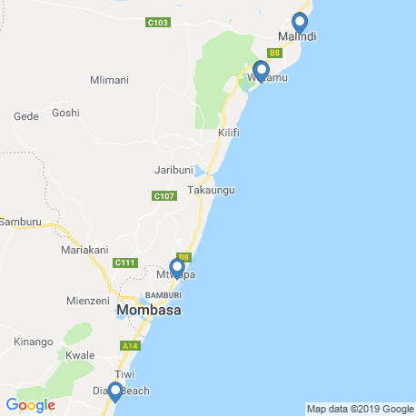 map of fishing charters in Kenya