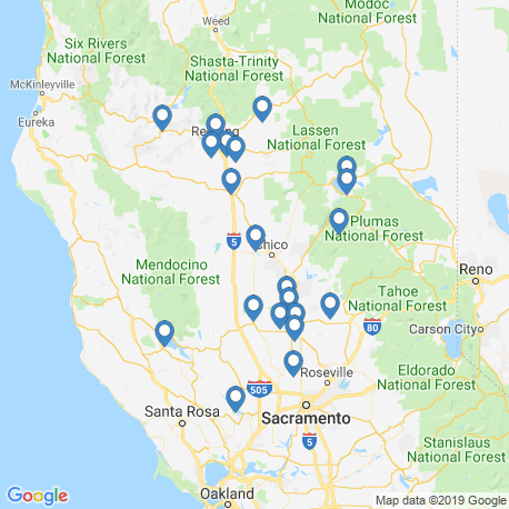 map of fishing charters in Sacramento River
