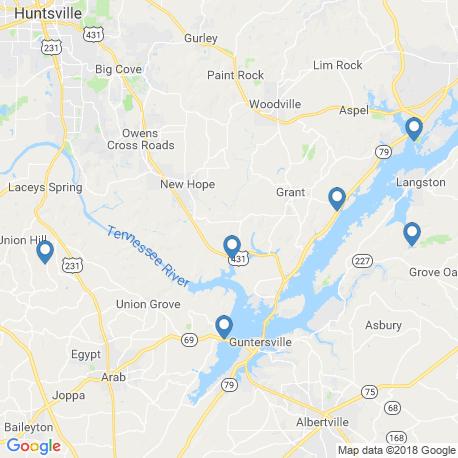 map of fishing charters in Guntersville