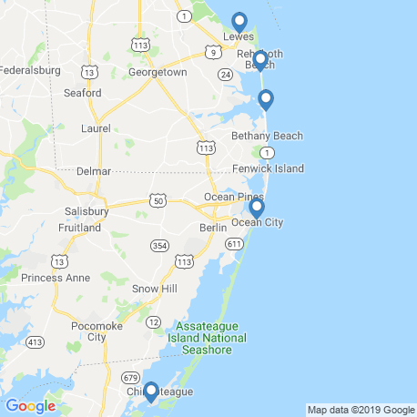map of fishing charters in Ocean City