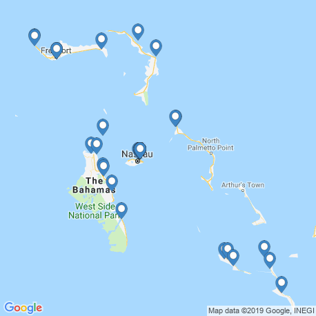map of fishing charters in Bahamas