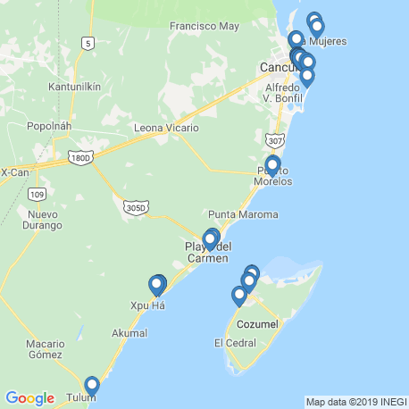 map of fishing charters in Quintana Roo