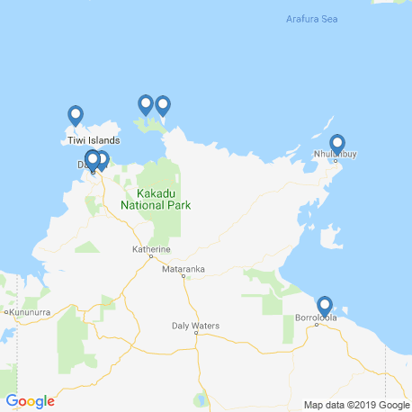 map of fishing charters in Northern Territory