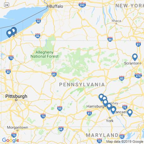 Карта рыбалки – Пенсильвания