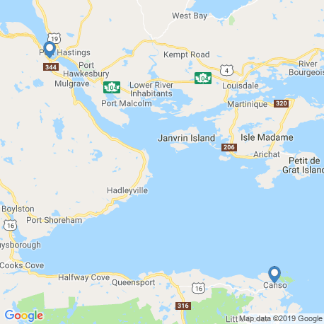 map of fishing charters in Nova Scotia