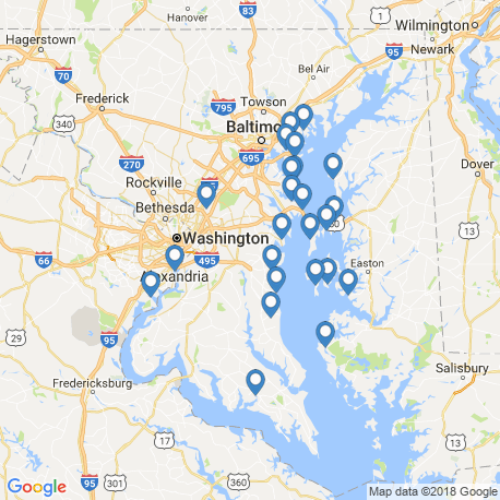 map of fishing charters in Deale