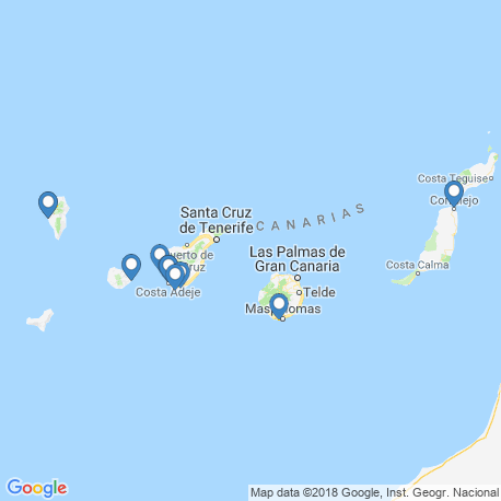 map of fishing charters in Canarias