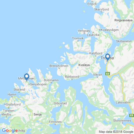 map of fishing charters in Mefjordvær
