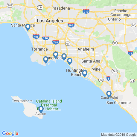 map of fishing charters in Huntington Beach