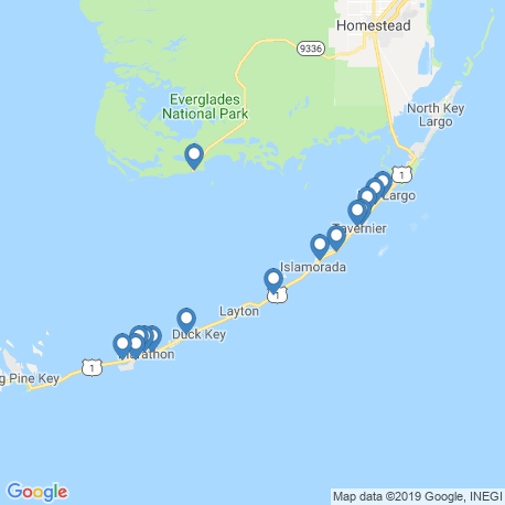 map of fishing charters in Florida Bay