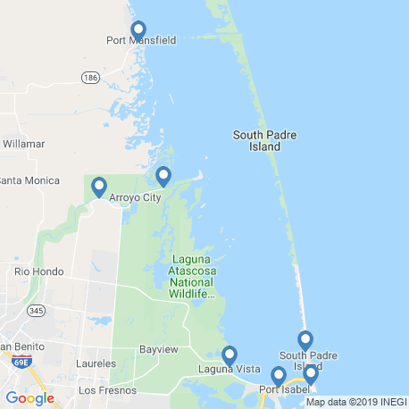 map of fishing charters in Port Isabel