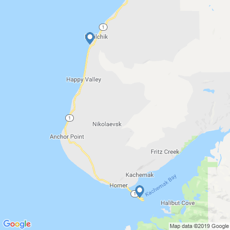 map of fishing charters in Homer