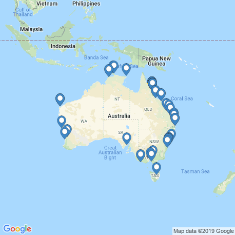 map of fishing charters in Australia