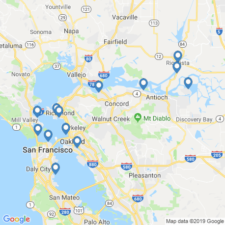map of fishing charters in Emeryville