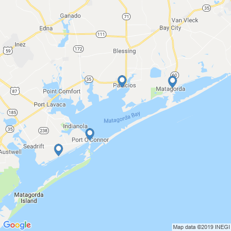 map of fishing charters in Port O'Connor