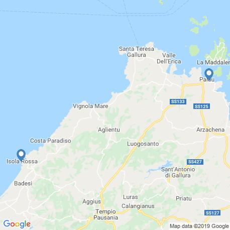 map of fishing charters in Sardinia