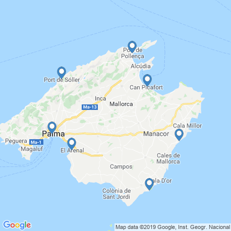 map of fishing charters in Mallorca