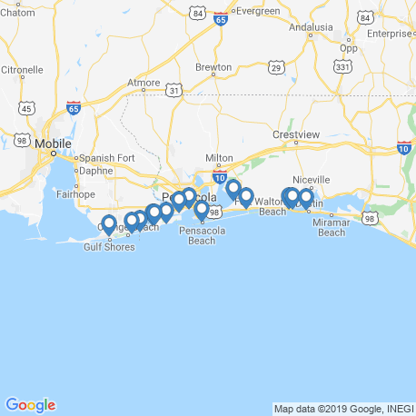 map of fishing charters in Pensacola Beach