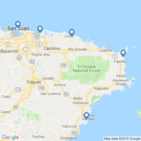 map of fishing charters in San Juan