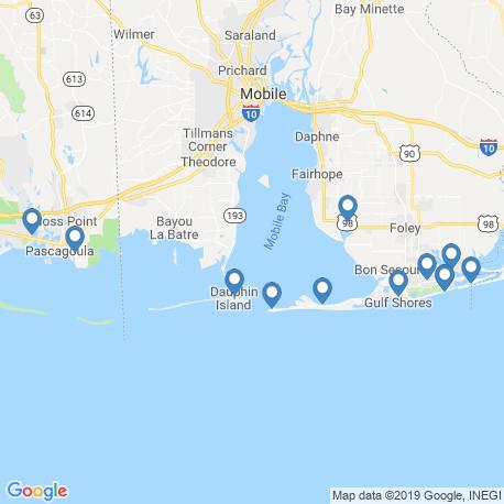 map of fishing charters in Dauphin Island