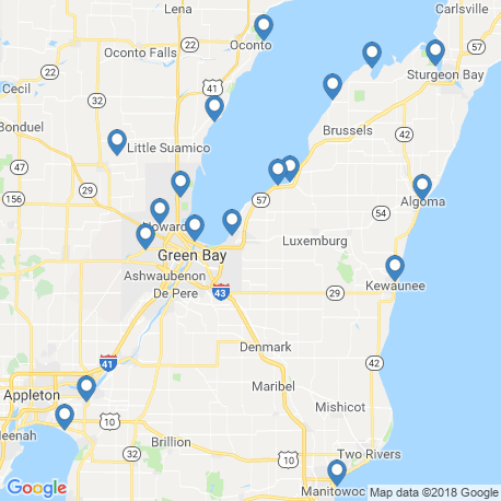 map of fishing charters in Green Bay