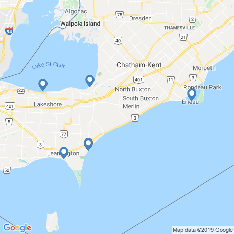 map of fishing charters in Leamington