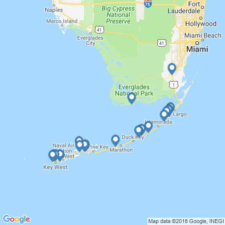 map of fishing charters in Florida Keys
