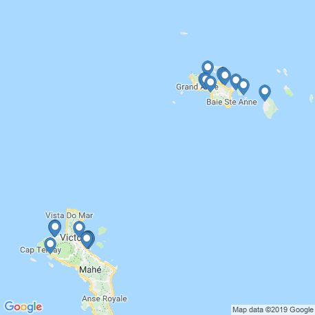 map of fishing charters in Seychelles