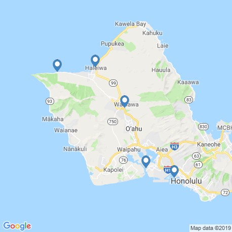 map of fishing charters in Waialua