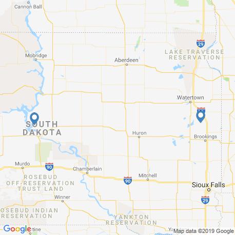 map of fishing charters in South Dakota