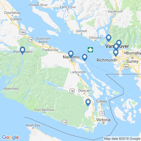 map of fishing charters in Nanaimo