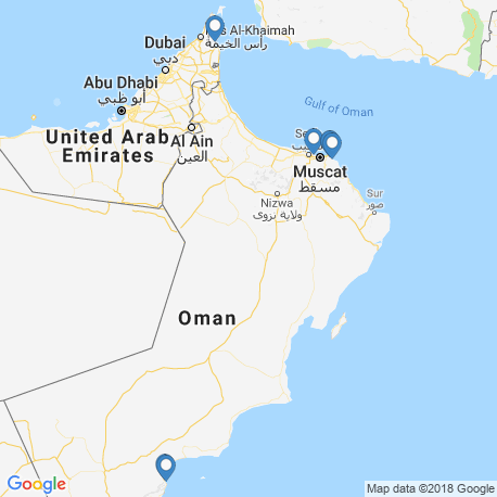 map of fishing charters in Оман