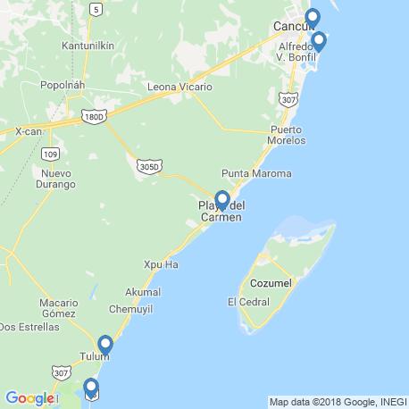 map of fishing charters in Riviera Maya