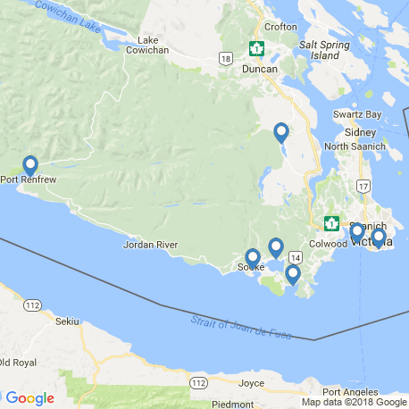 map of fishing charters in Sooke