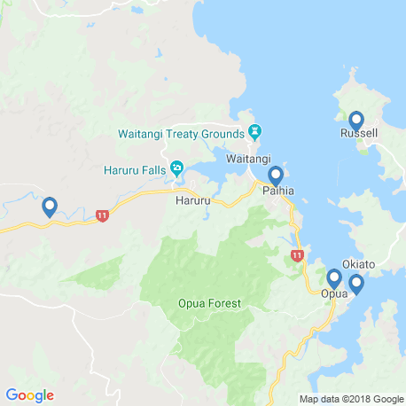 map of fishing charters in Haruru