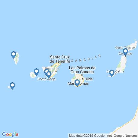 map of fishing charters in Canary Islands