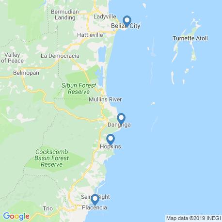 map of fishing charters in Dangriga