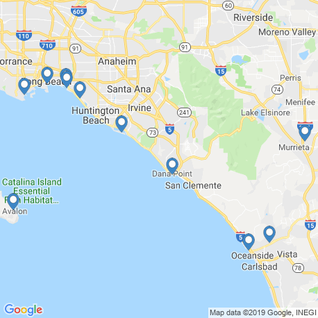 map of fishing charters in Dana Point