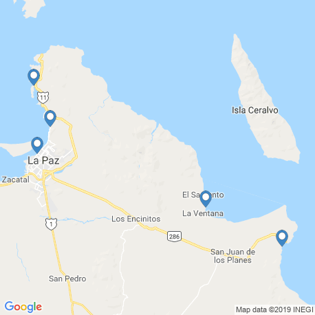 map of fishing charters in La Paz