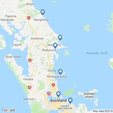 map of fishing charters in Whangaparaoa