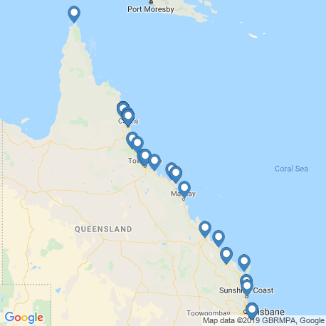 map of fishing charters in Queensland