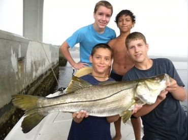 It took the whole crew to pull this Nice Snook off the bottom, but we did it.