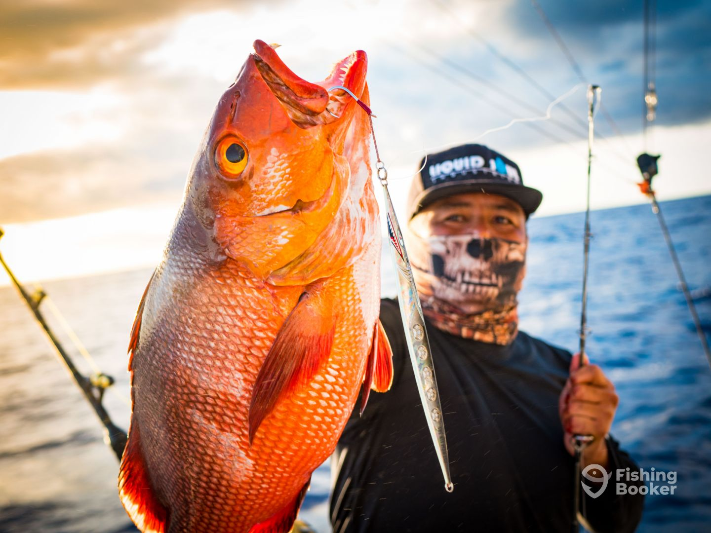 Captain barn and a red snapper